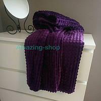 Велюровое покрывало-плед, Кубик. Цвет фиолетовый. Размер 200х220.