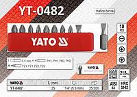 """Набор бит(шлиц, PH, PZ) 1/4"""", 10шт, YATO YT-0482"""