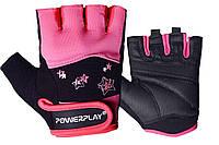 Рукавички для фітнесу PowerPlay 3492 Чорно-Розові M - 144445