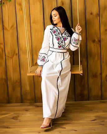 Длинное белое платье вышиванка Мавка, фото 2