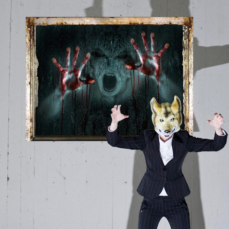 УжасстенынаклейкиИскусствоГлавнаяДекоративные Хэллоуин стены стикер девушка Ghost сломанной стены наклейки - 1TopShop