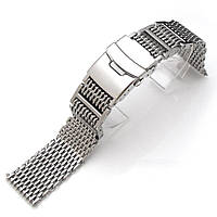 19mm, 20mm, 21mm or 22mm Flexi Ploprof 316 Reform SHARK Mesh Band, Brushed 316L Stainless Steel, фото 1
