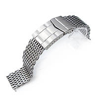 19mm, 20mm Ploprof 316 Reform Stainless Steel SHARK Mesh Watch Band, Submariner Diver Clasp, Brushed