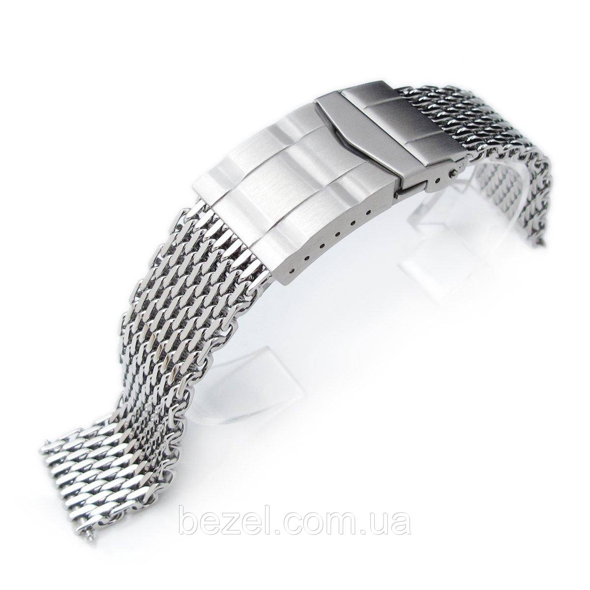 19mm, 20mm Ploprof 316 Reform Stainless Steel SHARK Mesh Watch Band, Submariner Diver Clasp, Polished