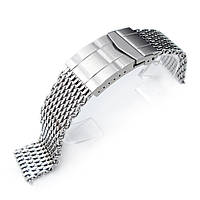 19mm, 20mm Ploprof 316 Reform Stainless Steel SHARK Mesh Watch Band, Submariner Diver Clasp, Polished, фото 1