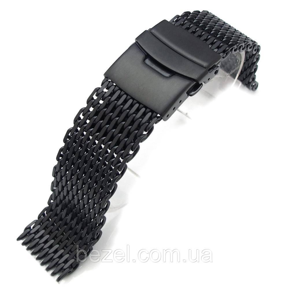 20mm Ploprof 316 Reform Stainless Steel SHARK Mesh Watch Band Diver Strap BK