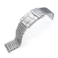 17mm, 18mm Ploprof 316 Reform Stainless Steel SHARK Mesh Watch Band, Submariner Diver Clasp, Sandblasted, фото 1