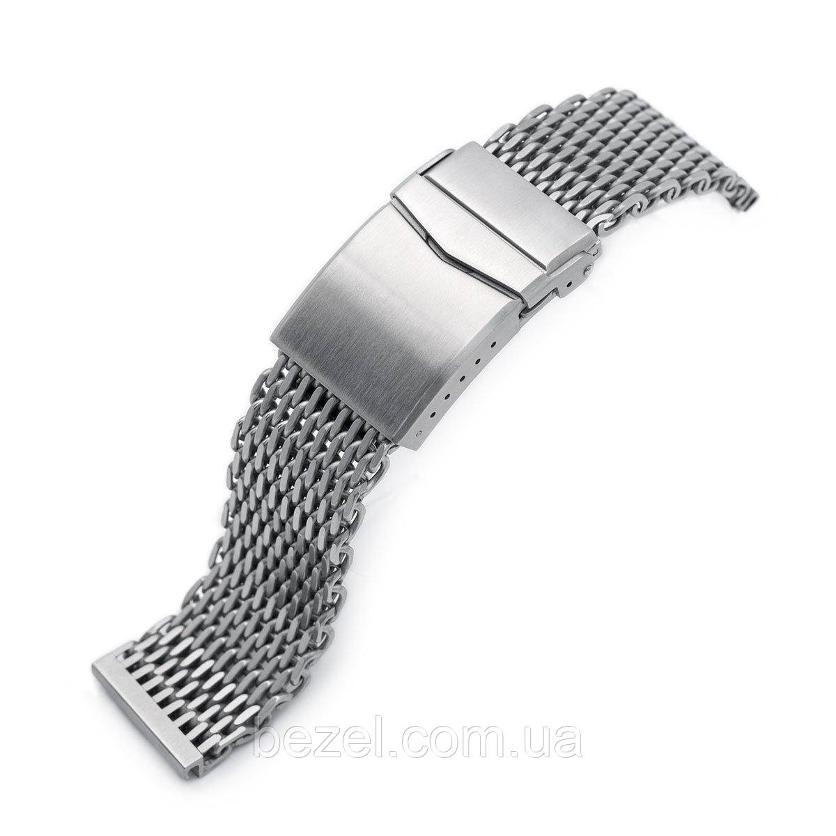 22mm Winghead SHARK Mesh Band Stainless Steel Watch Bracelet, V-Clasp, Brushed