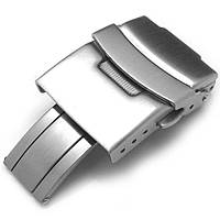18mm, 20mm, 22mm or 24mm Stainless Steel Push Button Diver Clasp for Watch Band, Brushed