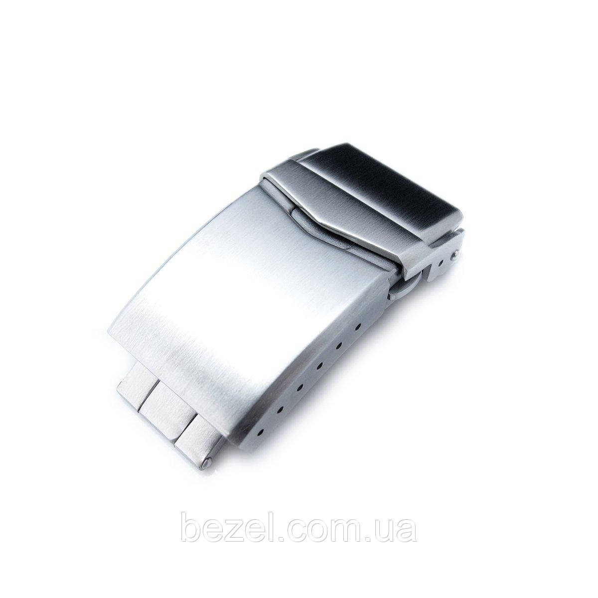 18mm, 20mm or 22mm Stainless Steel V Clasp Double Lock Button Diver Buckle, Brushed