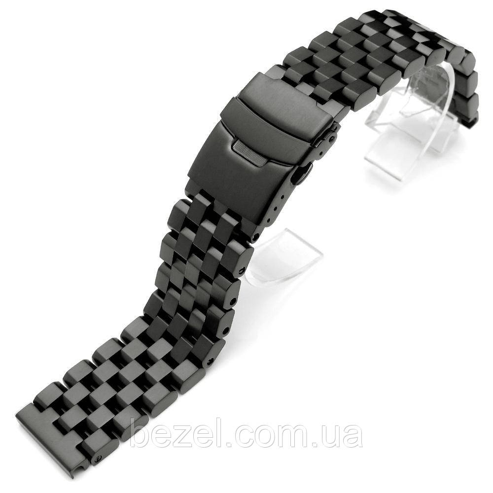 SUPER Engineer Type II Solid Stainless Steel Straight End Watch Band - Push Button PVD Black