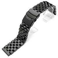 SUPER Engineer Type II Solid Stainless Steel Straight End Watch Band - Push Button PVD Black, фото 1