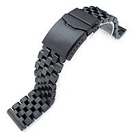 19mm, 20mm, 21mm, 22mm or 23mm Super Engineer II Solid SS Straight End Watch Band, Button Chamfer, PVD Black, фото 1