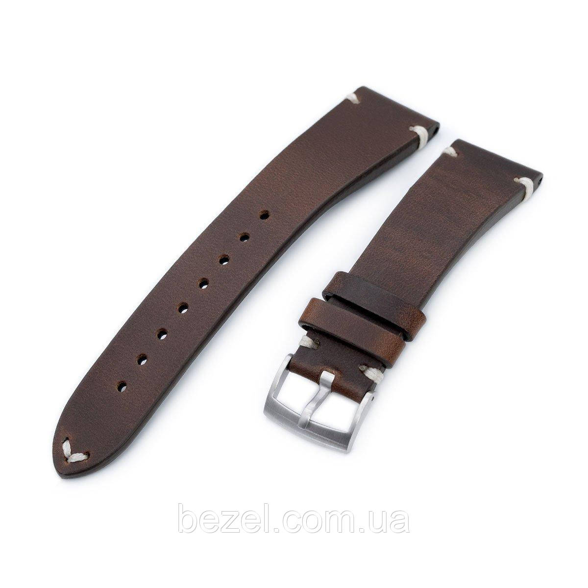 20mm, 21mm, 22mm MiLTAT Horween Chromexcel Watch Strap, Burgundy Brown, Beige Stitching