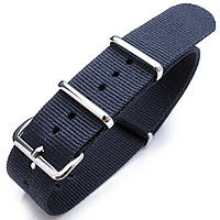 Nato 20mm, 21mm or 22mm Heat Sealed Heavy Nylon Polished Buckle - Navy Blue