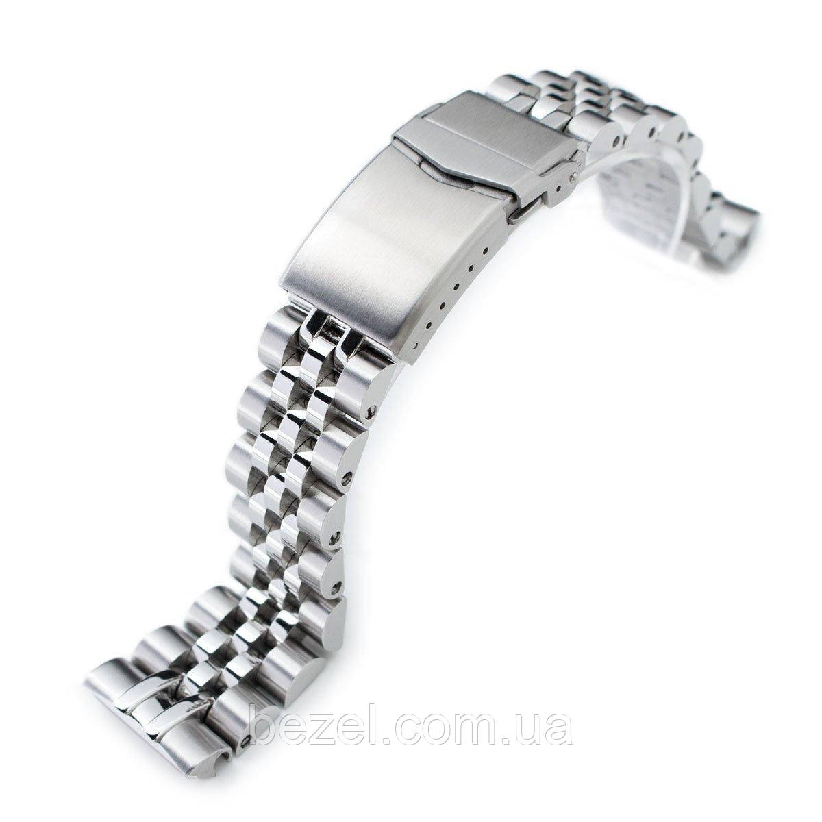 22mm ANGUS Jubilee 316L Stainless Steel Watch Bracelet for Seiko Turtle SRP777, Brushed/Polished, V-Clasp