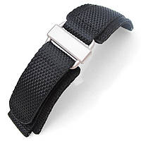 20mm, 22mm, 23mm, 24mm  MiLTAT Honeycomb Black Nylon Velcro Fastener Watch Strap Sandblasted Buckle