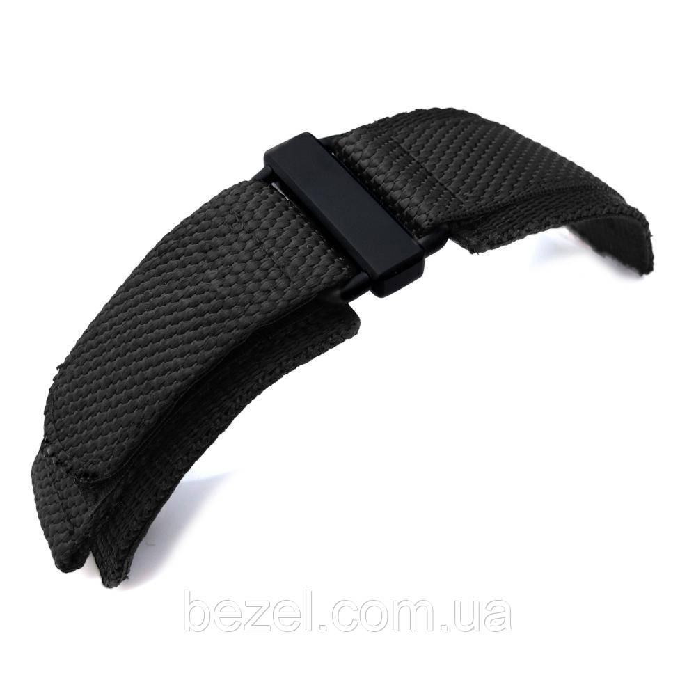 20mm, 22mm, 23mm, 24mm MiLTAT Honeycomb Black Nylon Velcro Fastener Watch Strap, PVD Black Buckle
