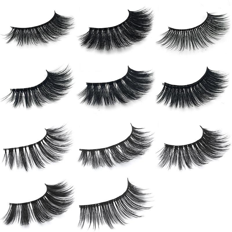 1Pair 3D Mink Волосы Black False Ресницы Макияж Косметика Handmade Thick Natural Long - 1TopShop