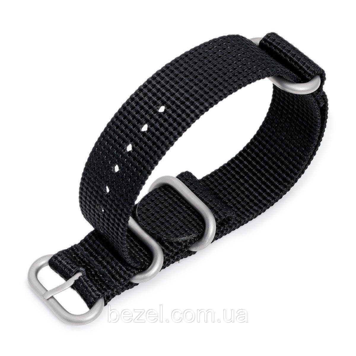 MiLTAT 18mm, 20mm, 22mm, 24mm and 26mm 3 Rings Zulu military watch strap 3D woven nylon armband - Black, Brushed Hardware