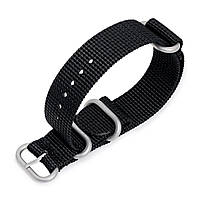 MiLTAT 18mm, 20mm, 22mm, 24mm and 26mm 3 Rings Zulu military watch strap 3D woven nylon armband - Black, Brushed Hardware, фото 1