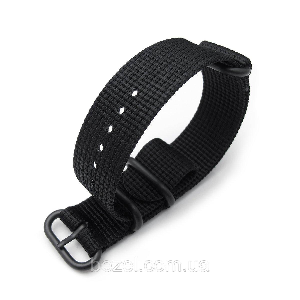 MiLTAT 3 Rings Zulu military watch strap 3D woven nylon armband - Black, PVD Black, 18mm to 26mm