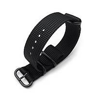 MiLTAT 3 Rings Zulu military watch strap 3D woven nylon armband - Black, PVD Black, 18mm to 26mm, фото 1