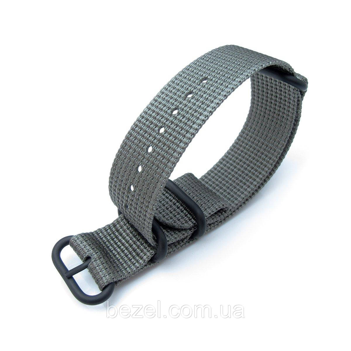 MiLTAT 20mm, 22mm or 26mm 3 Rings Zulu military watch strap 3D woven nylon armband - Grey, PVD Black Hardware