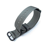 MiLTAT 20mm, 22mm or 26mm 3 Rings Zulu military watch strap 3D woven nylon armband - Grey, PVD Black Hardware, фото 1