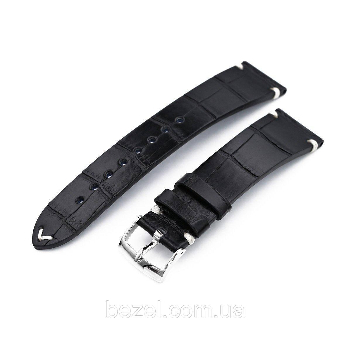 20mm, 21mm or 22mm MiLTAT Genuine American Alligator Square Scale, Semi Matte Black Watch Strap