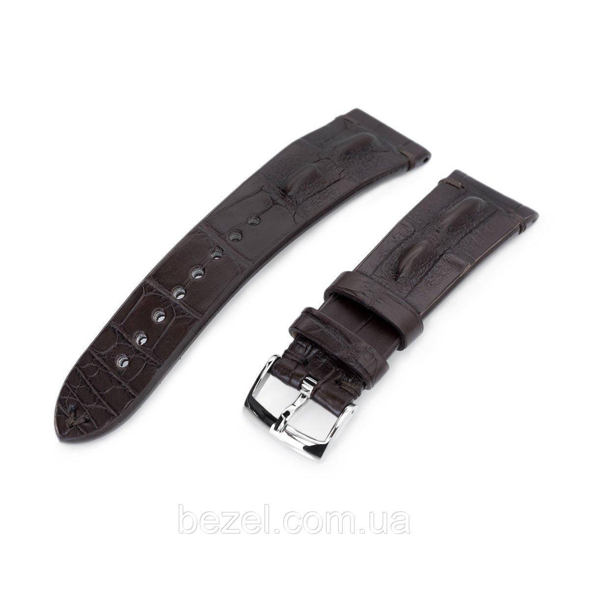 20mm or 22mm MiLTAT Italian Handmade Hornback Alligator Coffee Brown Watch Strap
