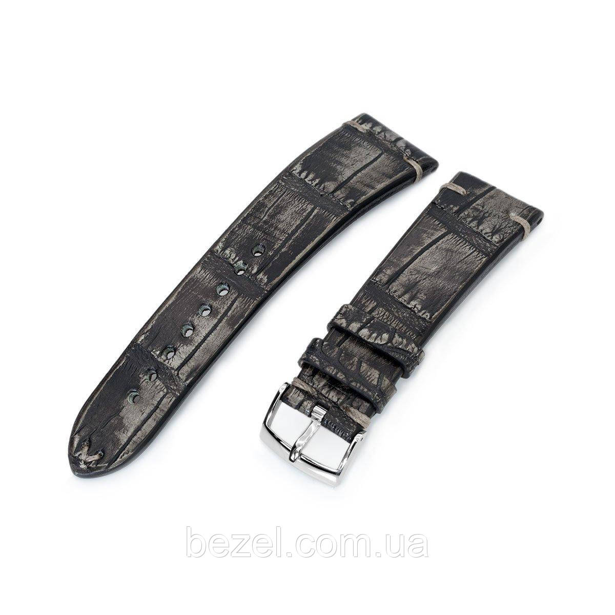 20mm or 22mm MiLTAT Italian Handmade Alligator Belly Vintage Grey Watch Strap