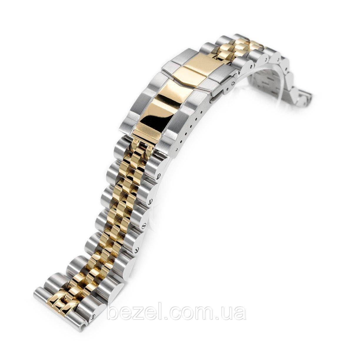 20mm ANGUS Jubilee 316L Stainless Steel Watch Bracelet 20mm Straight End, Two Tone IP Gold, Submariner Clasp