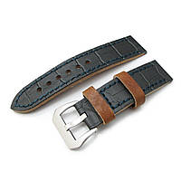 22mm MiLTAT Antipode Watch Strap Dark Grey CrocoCalf in Lake Blue Hand Stitches, фото 1