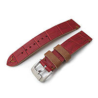 20mm MiLTAT Antipode Watch Strap Matte Red CrocoCalf in Tan Hand Stitches, фото 1