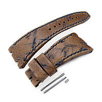 Heavy Scratch Brown Leather of Art Watch Strap, Dark Navy Wax thread, custom made for Audemars Piguet Royal Oak Offshore, фото 1