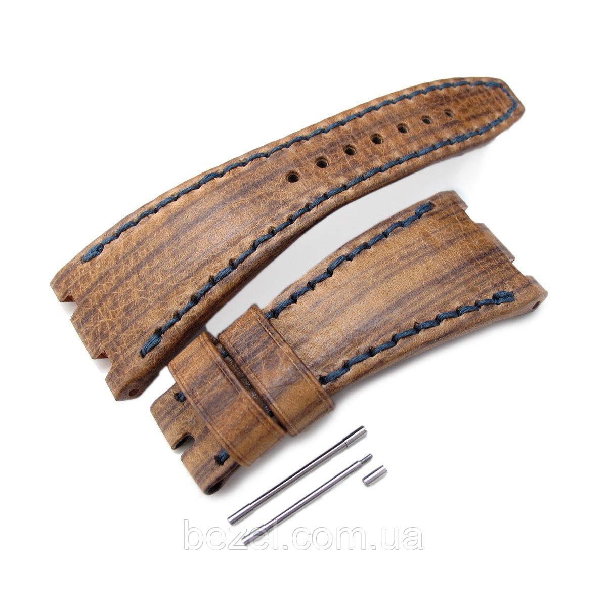 Brown Oak Wood Leather of Art Watch Strap, Wax thread Dark Navy Stitching, custom made for Audemars Piguet Royal Oak Offshore