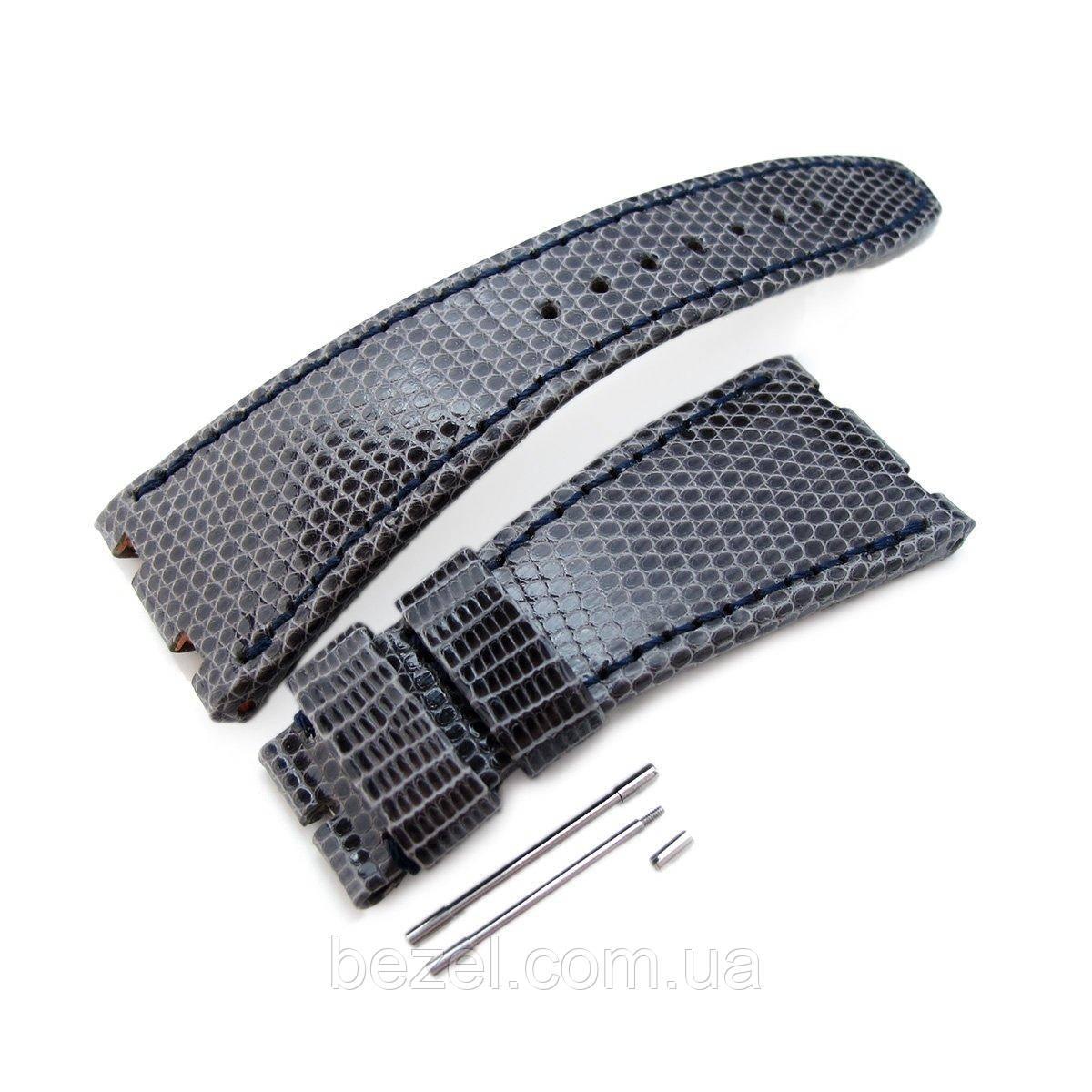 Dark Grey Genuine Lizard Leather Watch Strap, Wax thread Dark Navy Stitching, custom made for Audemars Piguet Royal Oak Offshore