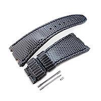 Dark Grey Genuine Lizard Leather Watch Strap, Wax thread Dark Navy Stitching, custom made for Audemars Piguet Royal Oak Offshore, фото 1