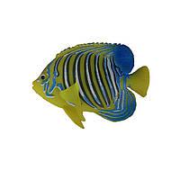 Декор для аквариума флуоресцентная рыбка Regal Angelfish yellow 9,5 см