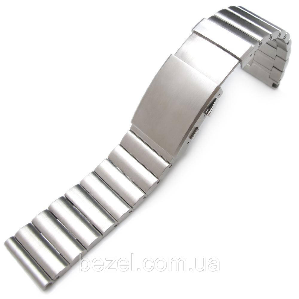 24mm Bandoleer 316L Straight End Stainless Steel Watch Band Diver Extension Clasp