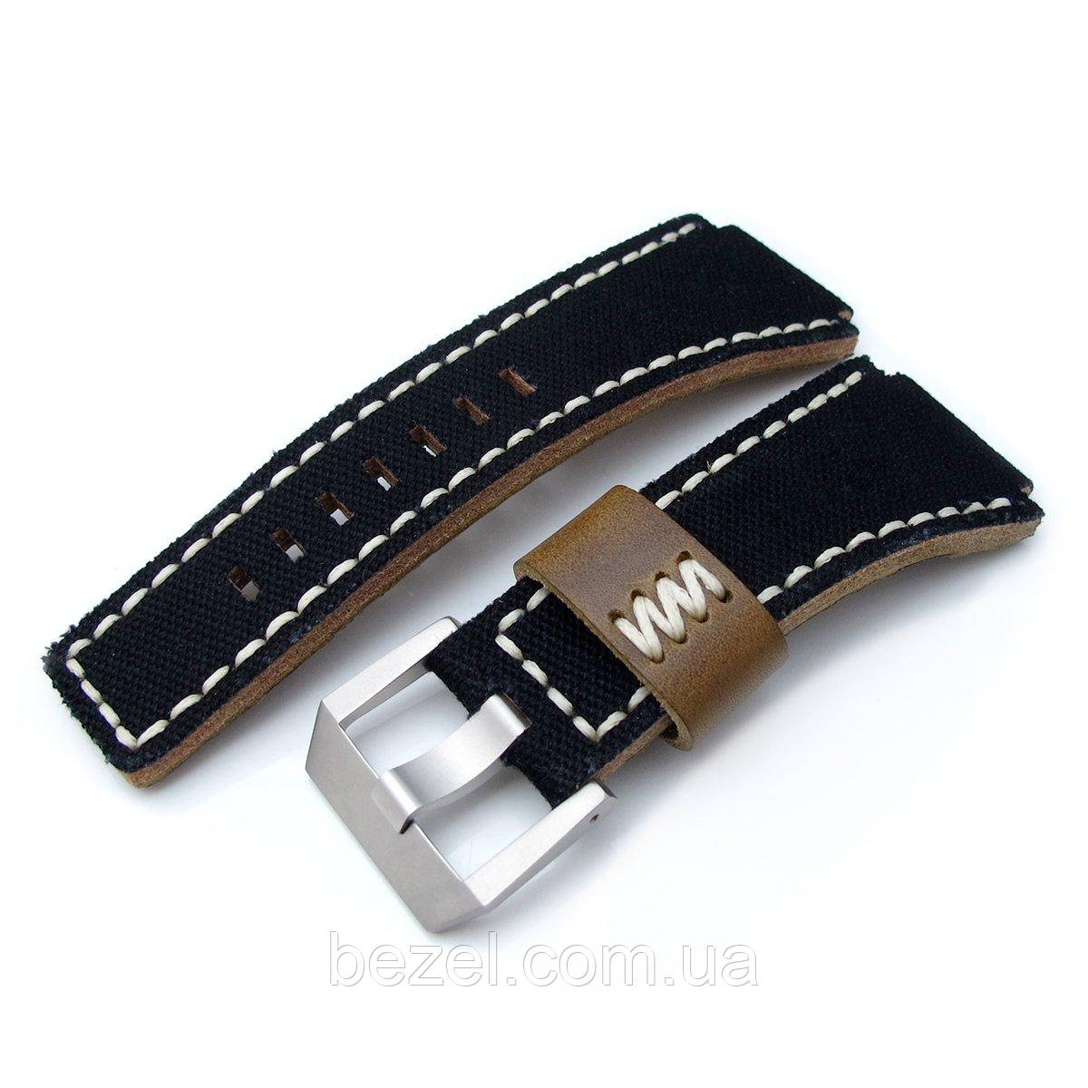 MiLTAT Black Canvas Bell & Ross BR01 Type Replacement Watch Strap, Beige Wax Stitching