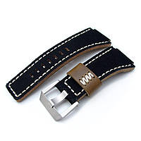 MiLTAT Black Canvas Bell & Ross BR01 Type Replacement Watch Strap, Beige Wax Stitching, фото 1