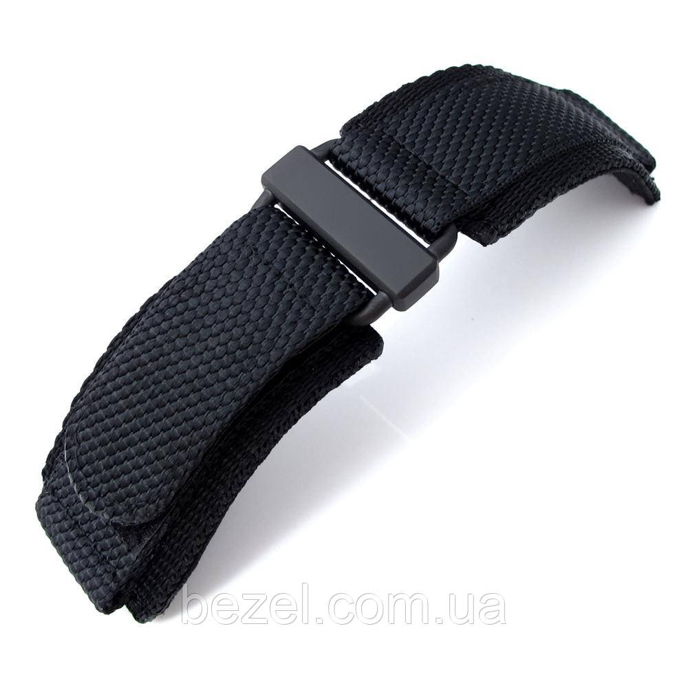 MiLTAT Honeycomb Black Nylon Velcro Fastener Watch Strap for Bell & Ross BR01, PVD Black Buckle