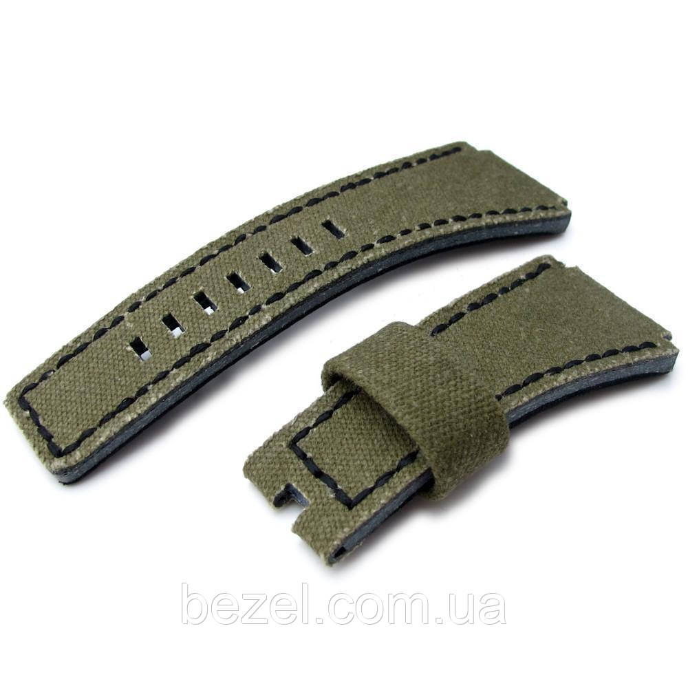 MiLTAT Military Green Washed Canvas for Bell & Ross replacement Strap, Black Stitches