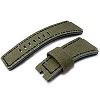 MiLTAT Military Green Washed Canvas for Bell & Ross replacement Strap, Black Stitches, фото 1