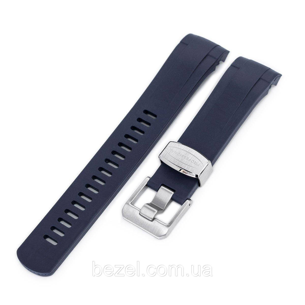 22mm Crafter Blue - Dark Blue Rubber Curved Lug Watch Strap for Tudor Black Bay M79230