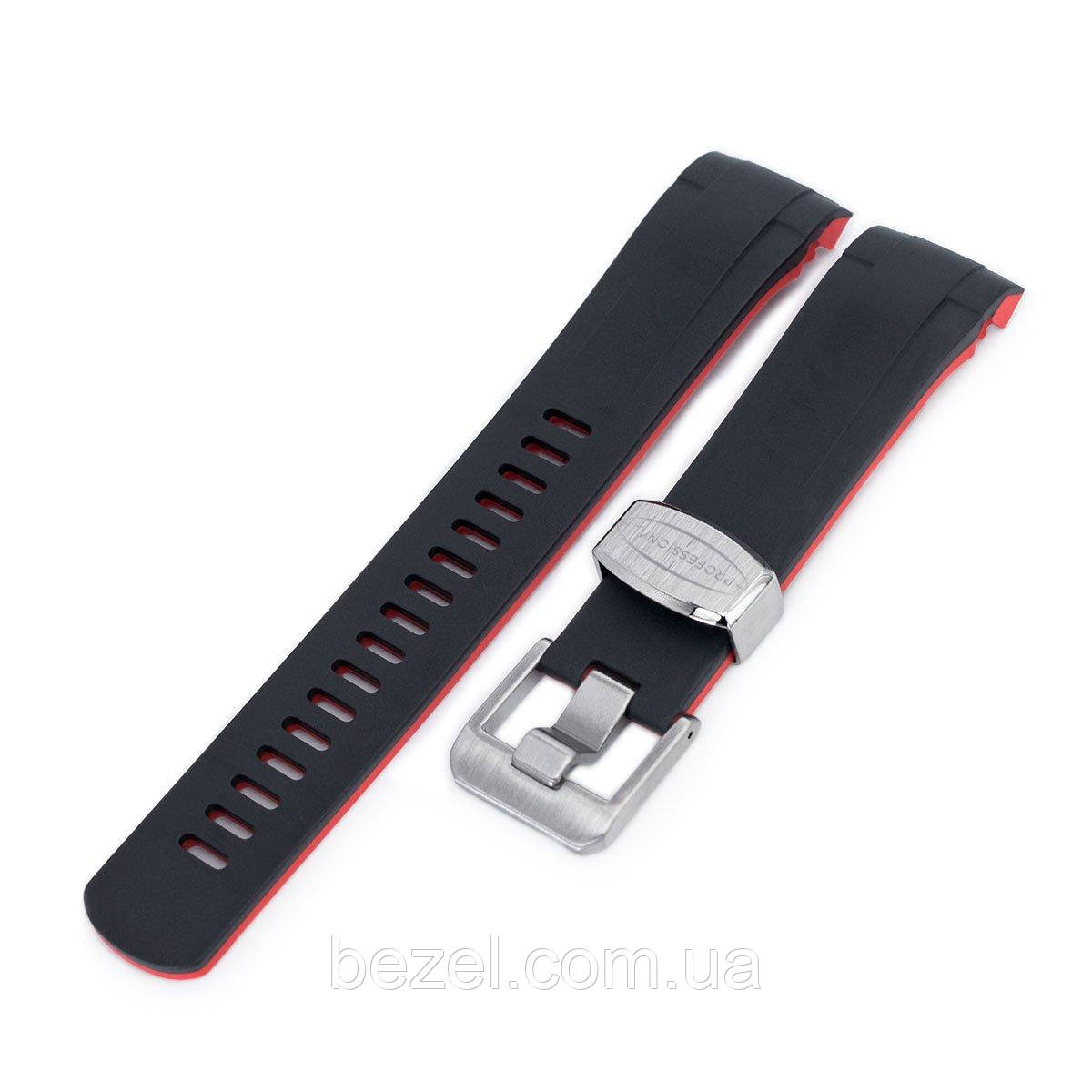 22mm Crafter Blue - Dual Color Red & Black Rubber Curved Lug Watch Strap for Tudor Black Bay M79230