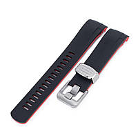 22mm Crafter Blue - Dual Color Red & Black Rubber Curved Lug Watch Strap for Tudor Black Bay M79230, фото 1