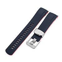 22mm Crafter Blue - Dual Color Blue & Red Rubber Curved Lug Watch Strap for Tudor Black Bay M79230, фото 1